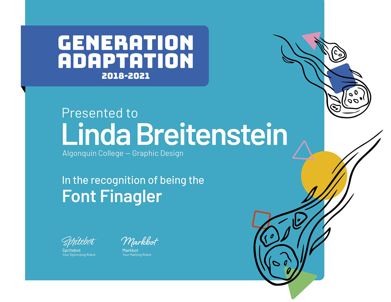 This is the card for the Font Finagler Award.