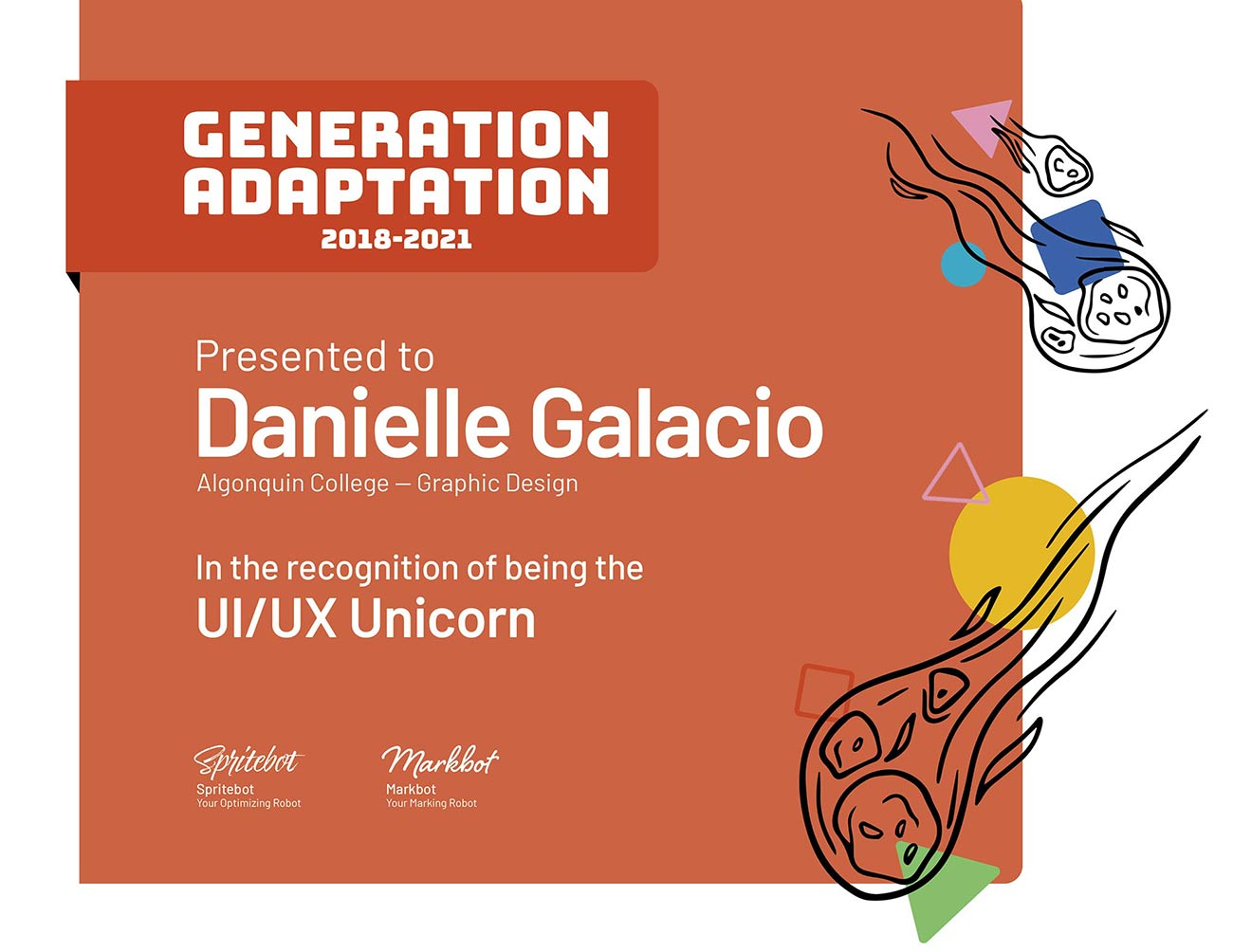 This is the card for the UI/UX Unicorn Award.