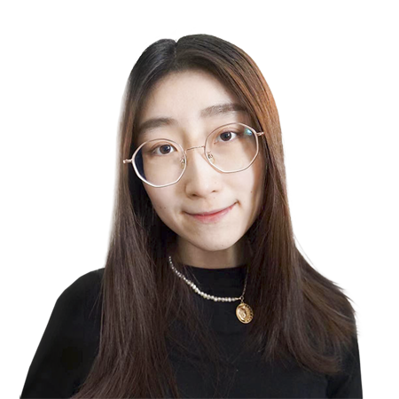 The headshot of Zhao Ziai. It features a person wearing octagonal glasses and a necklace staring serenely at the camera. The person is young and has long, brown hair.