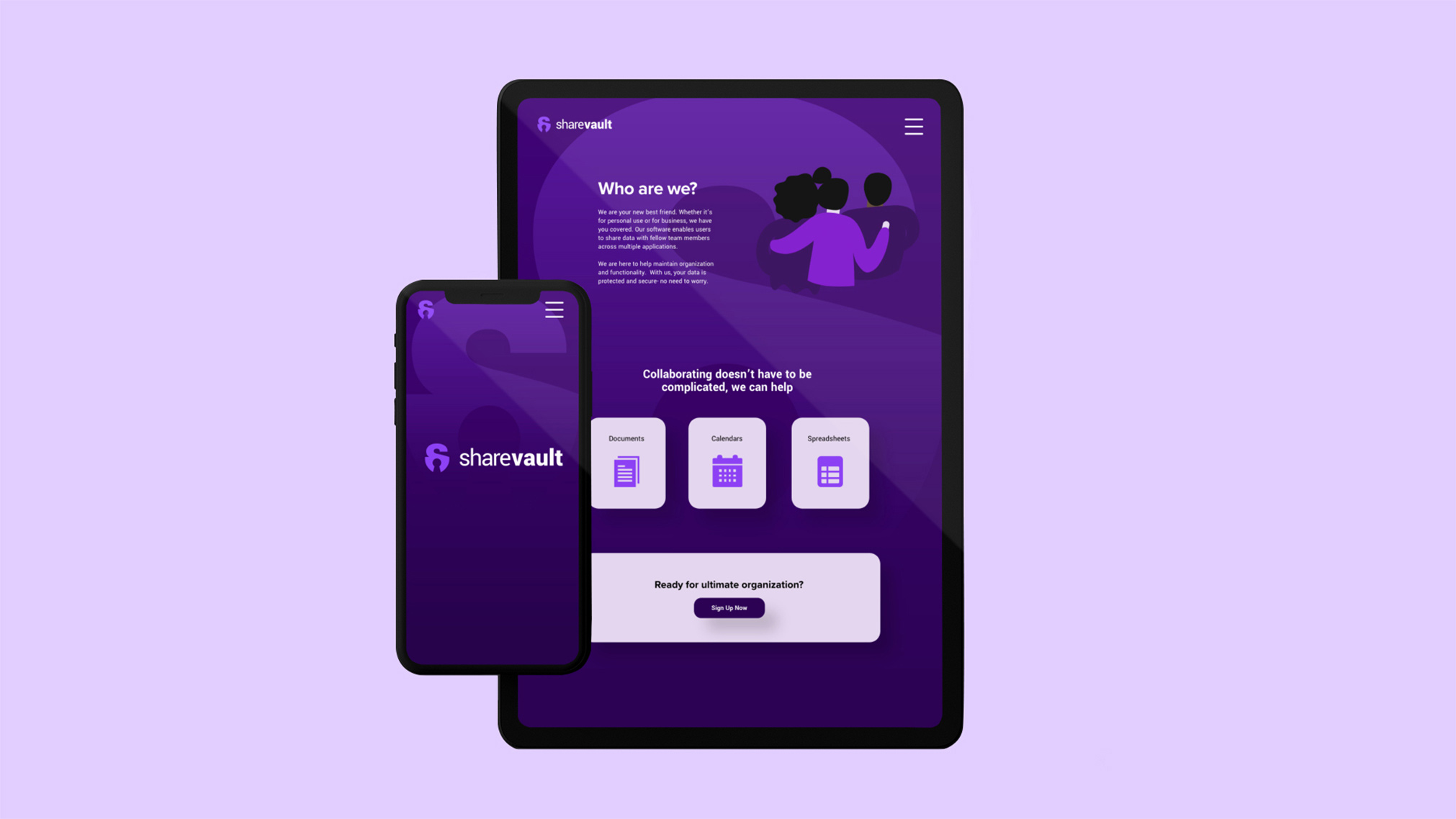 Sharevault is a mockup SAAS company, specializing in cloud sharing services. Their friendly and trendy design aesthetic reflects the company's mantra of bringing human elements back to tech services.