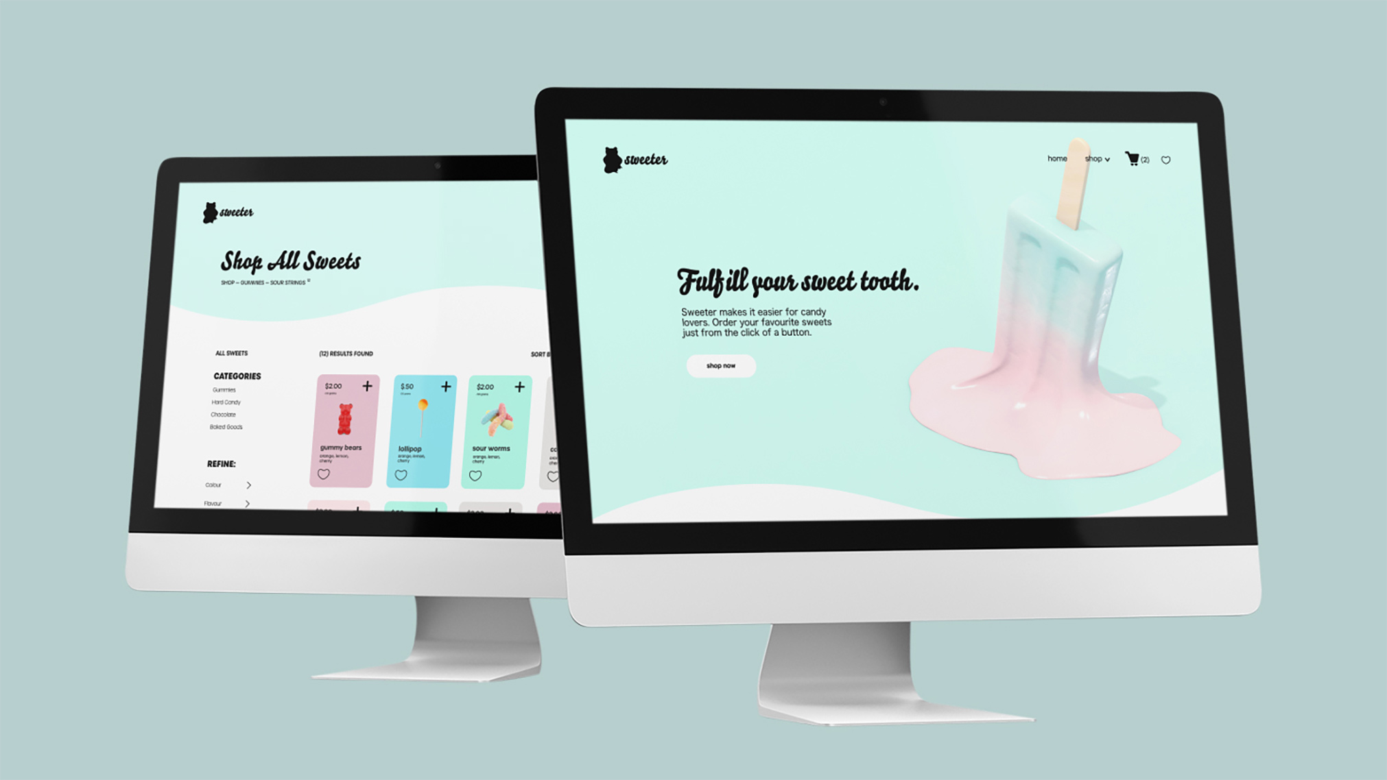 Sweeter is a mockup e-commerce company, selling an assortment of candy and other sweets. Their website provides a playful and vibrant shopping experience.