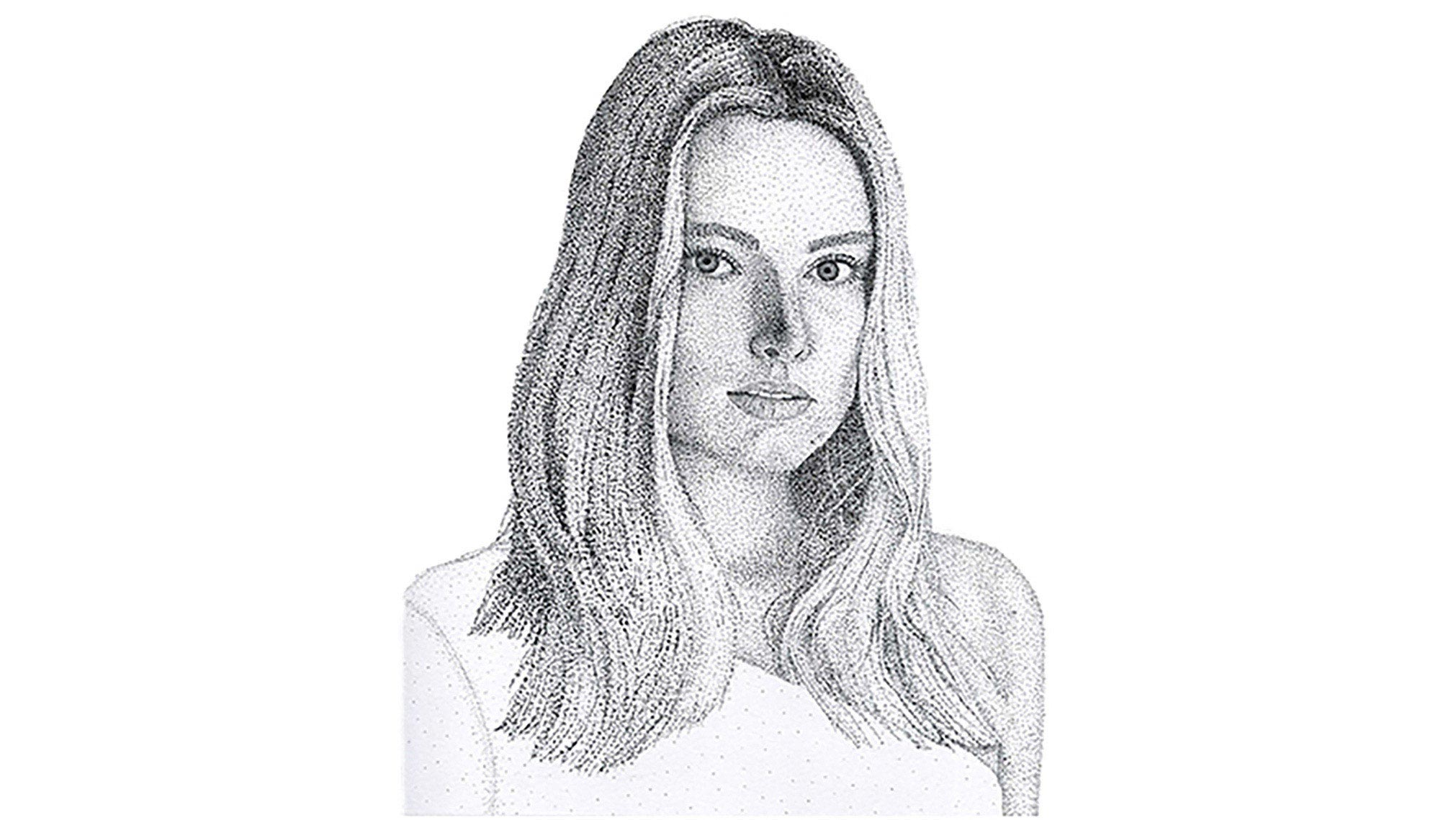 Stipple portrait done in pen of Margot Robbie. Countless hours were spent applying dot after dot to get the final image.