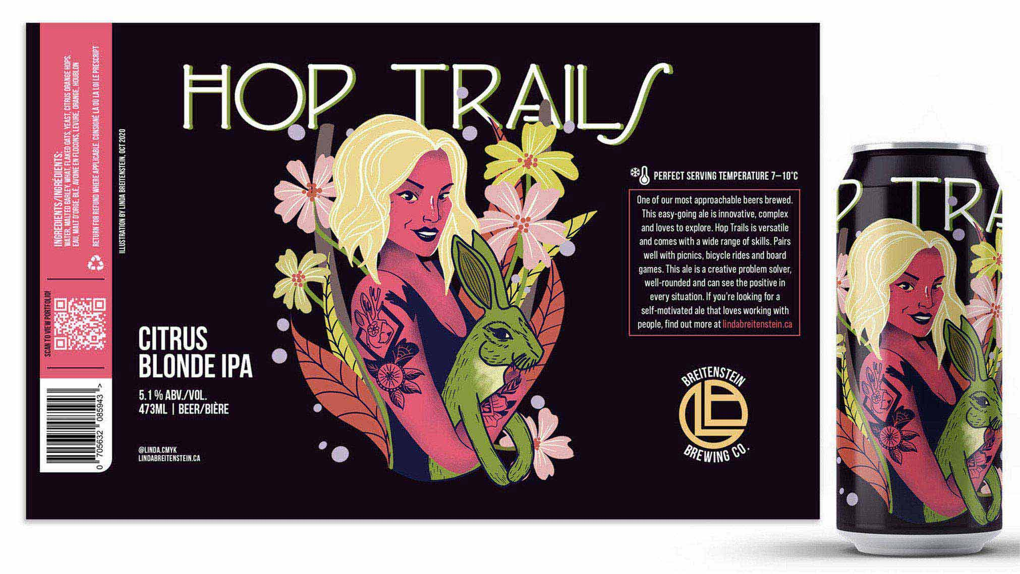 """Hop Trails is a portfolio promotion piece designed to be used as a leave behind """"business card"""" for future employers. The label incorporates illustration, brand design and motion."""