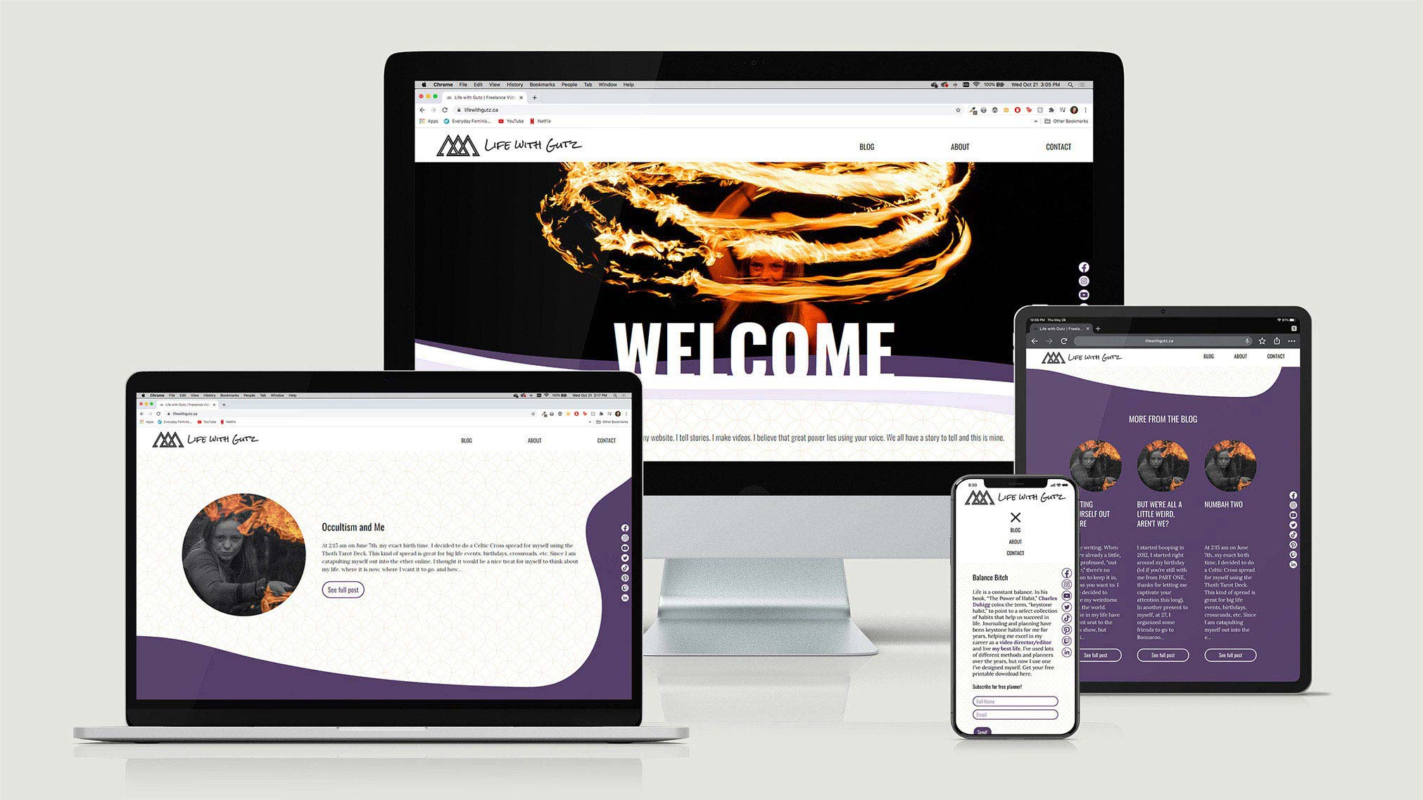 Responsive online platform for a client setting up a blog for her personal brand, using Netlify as a CMS.