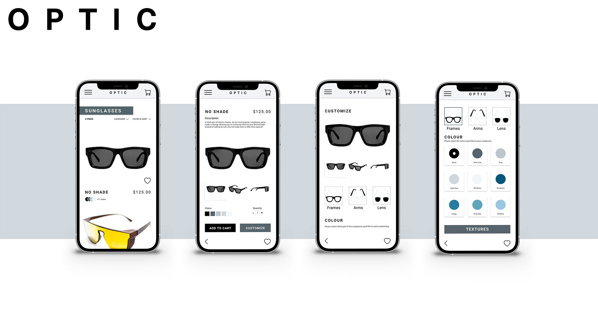 A fictional app designed for creating customized sunglasses.