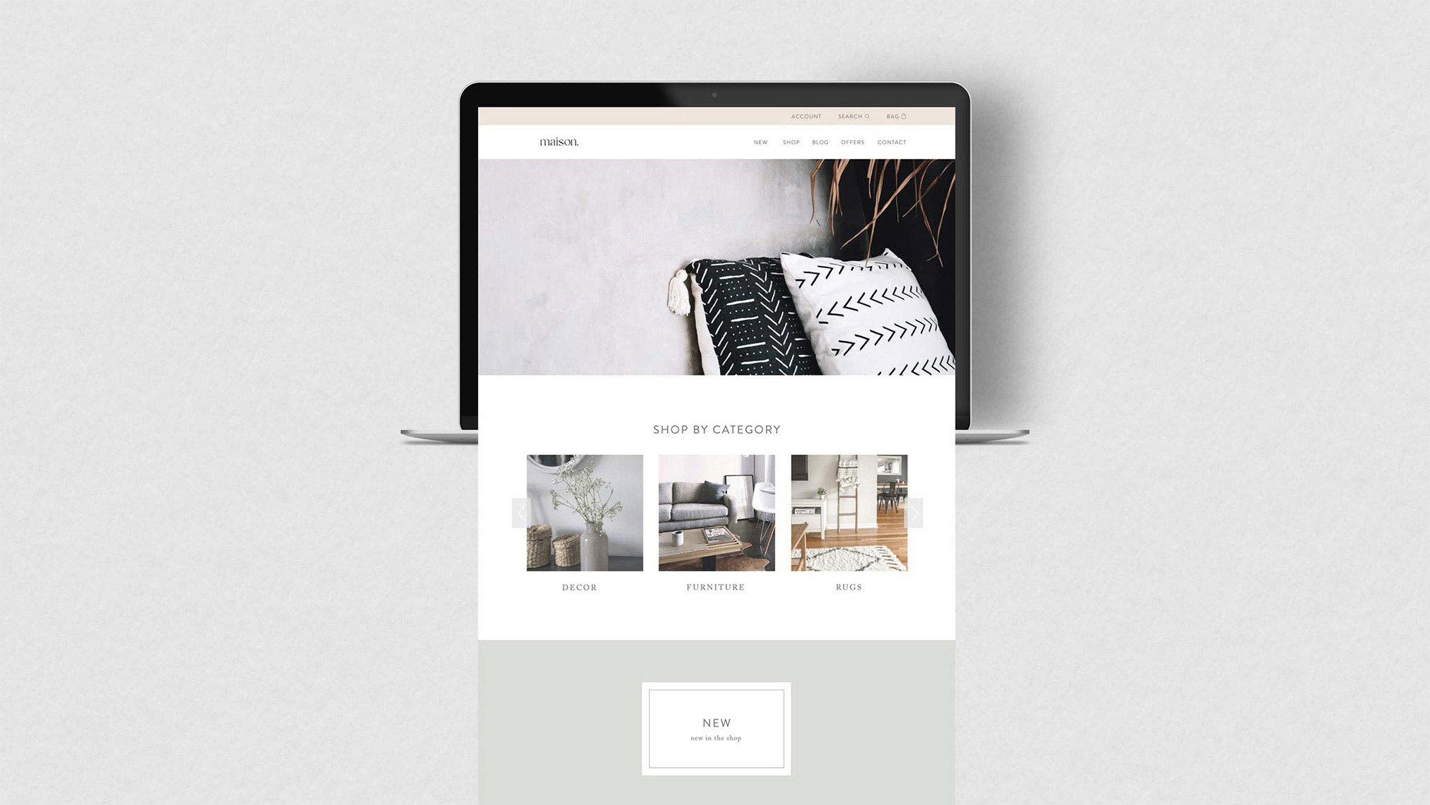 Maison's brand identity is unified by their warm and modern aesthetic. Through HTML and CSS, their e-commerce website was developed and came to life with neutral colour tones, natural materials and warm textures just like their products.