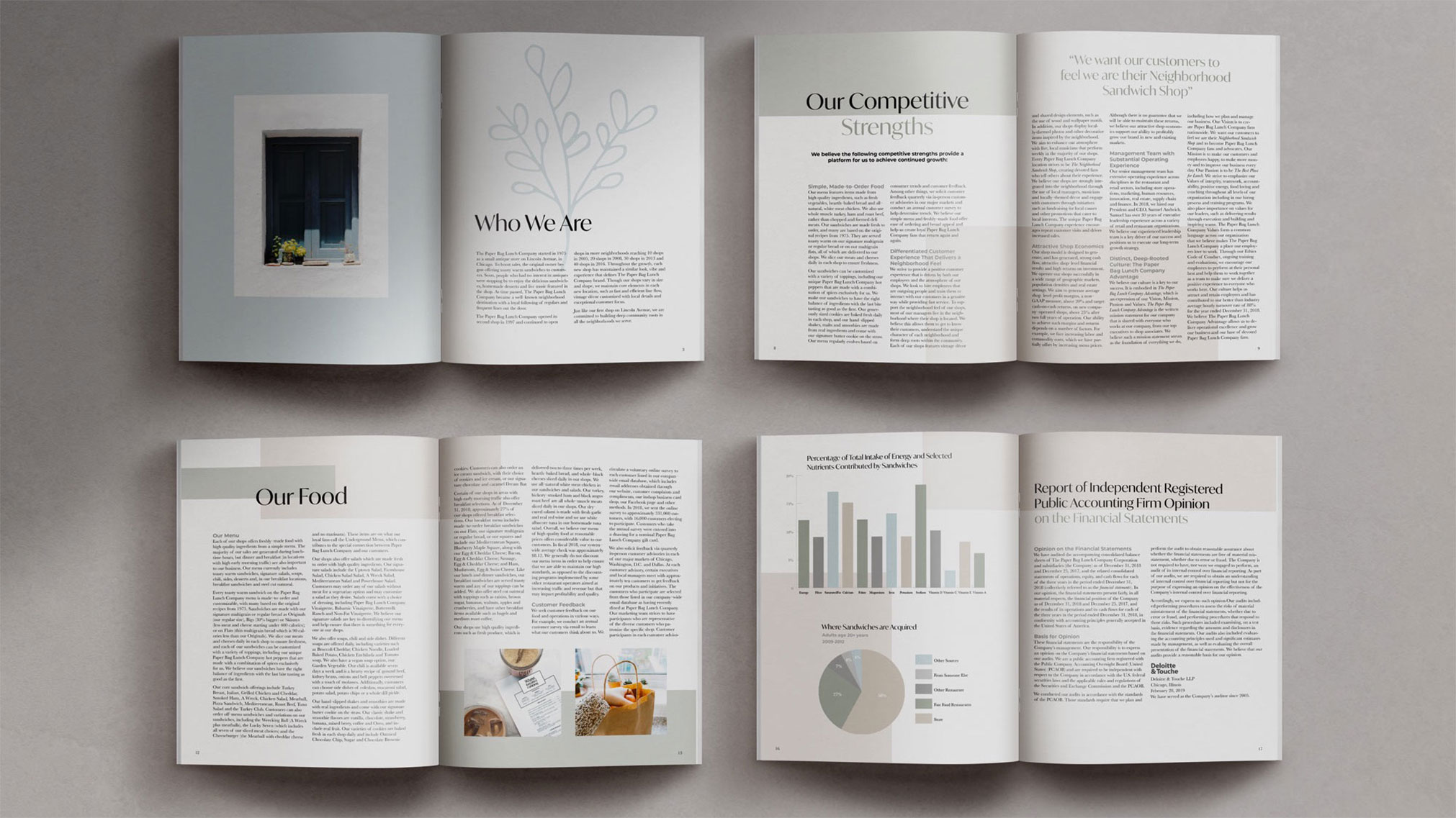 Although the world is headed in a digital direction, I believe there is still a need and love for print pieces. I am passionate about creating designs that complement a brand's aesthetic, just like this annual report.