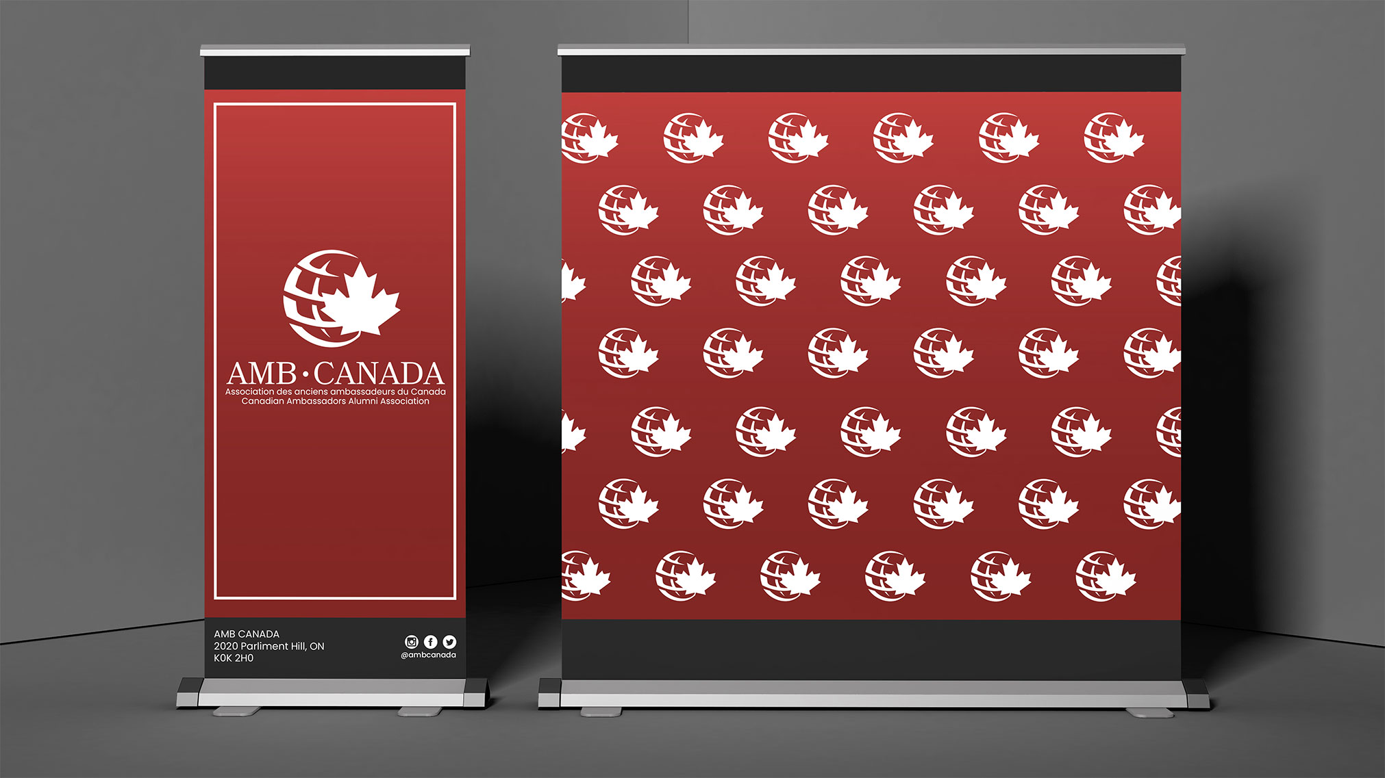AMBCANADA is a non-profit organization of former diplomatic Canadian Heads of Mission & Ambassadors. The goal of this project is to modernize the organization's logo and build a memorable brand. The new logo includes bilingual scripts. The new design will be applied to letterheads, websites, banners and promotional materials. AMBCANADA's logo design represents the simplicity and accessibility of AMBCANADA. The ability of connection, leadership and voice is portrayed through this logo design.