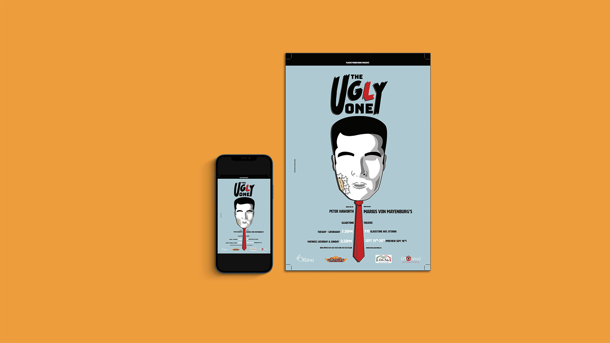 This was a digital design/print project I did for the play The Ugly One.