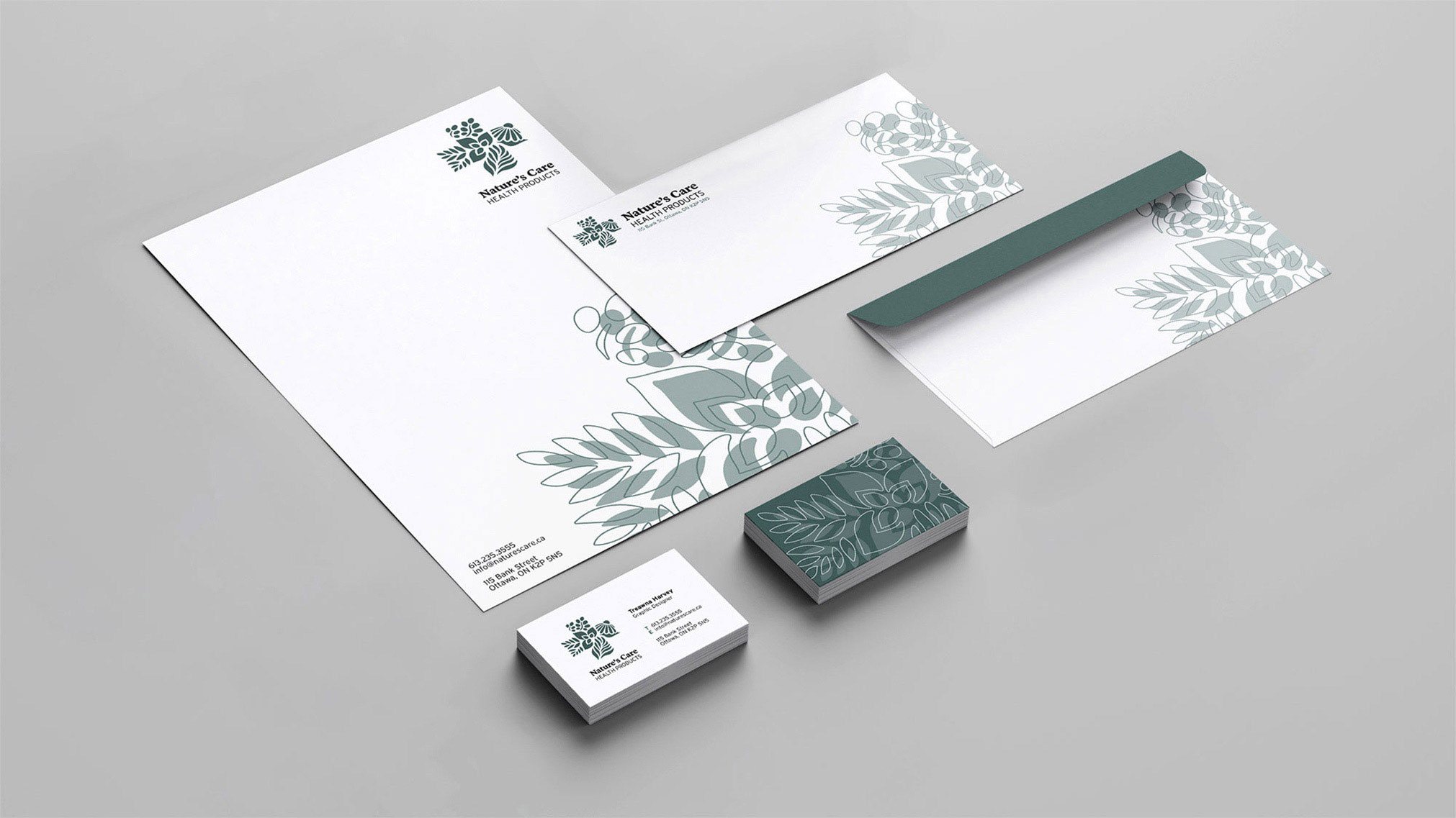 Branding, logo and stationery design for a local health product shop.