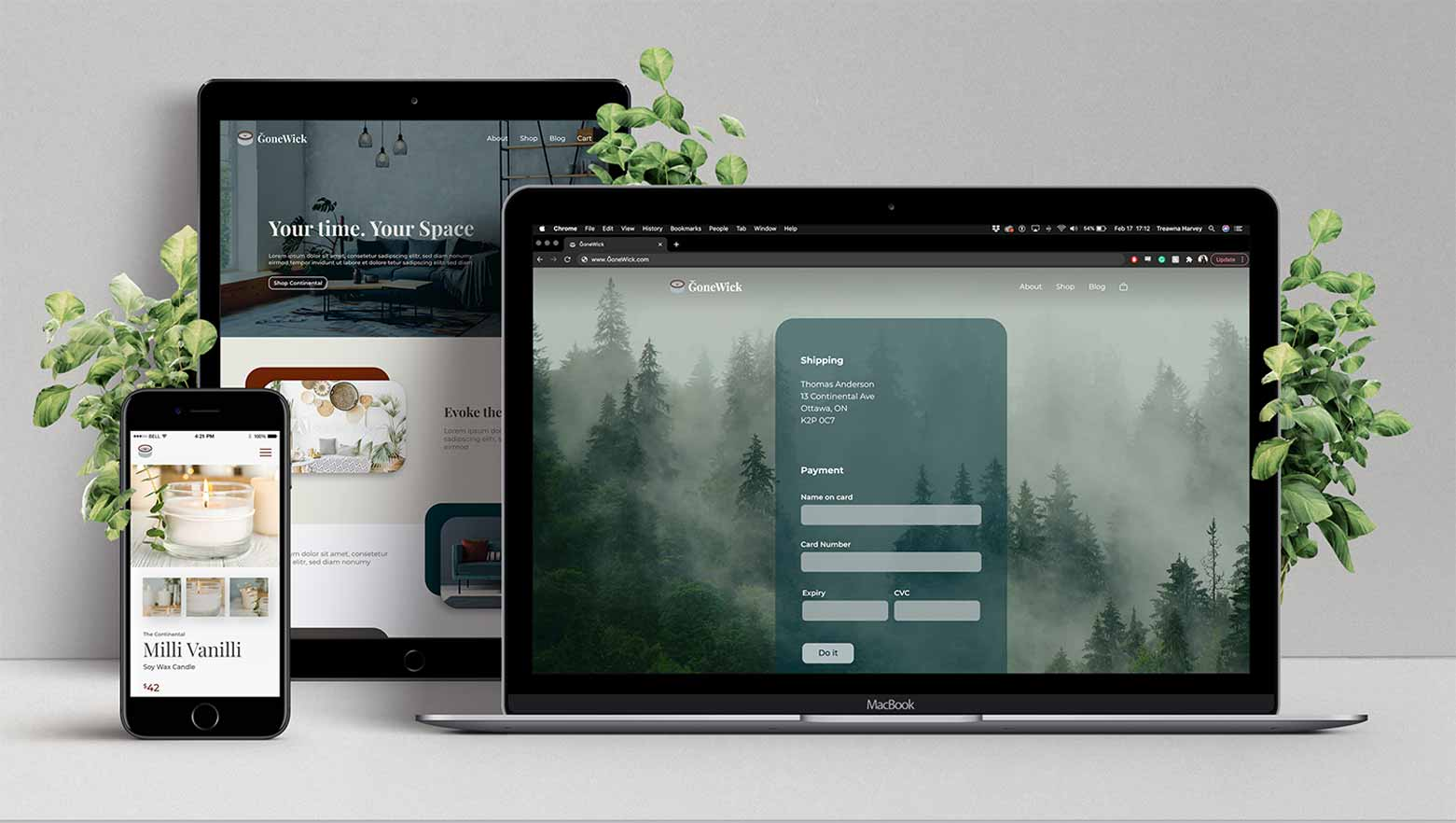 Branding and code for ĞoneWick, a fictional eCommerce website that sells home decor products.