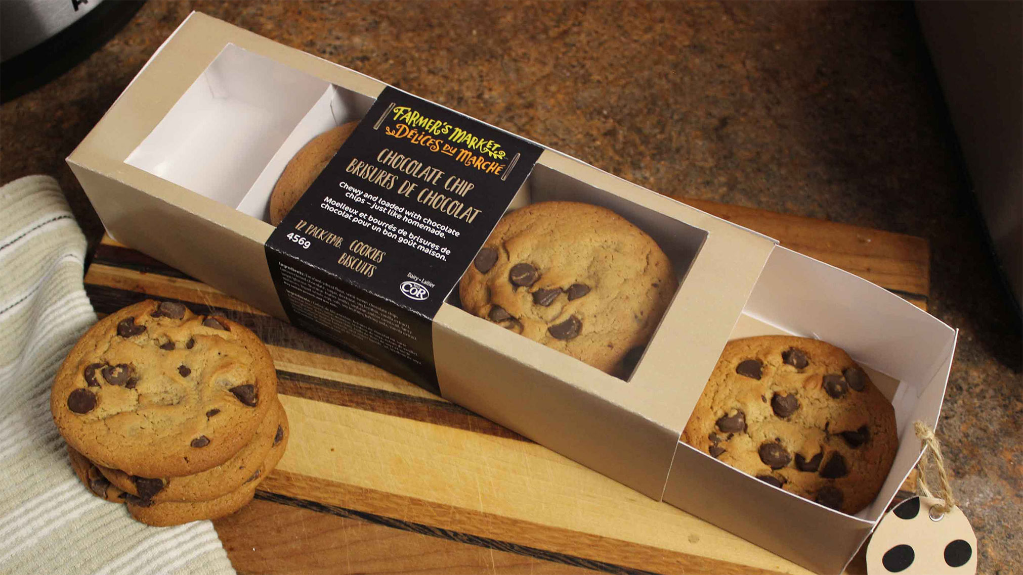 The goal of this project was to redesign the Farmer's Market Cookies packaging and make it more eco-friendly. The new design uses recyclable materials and gives it a more clean look.