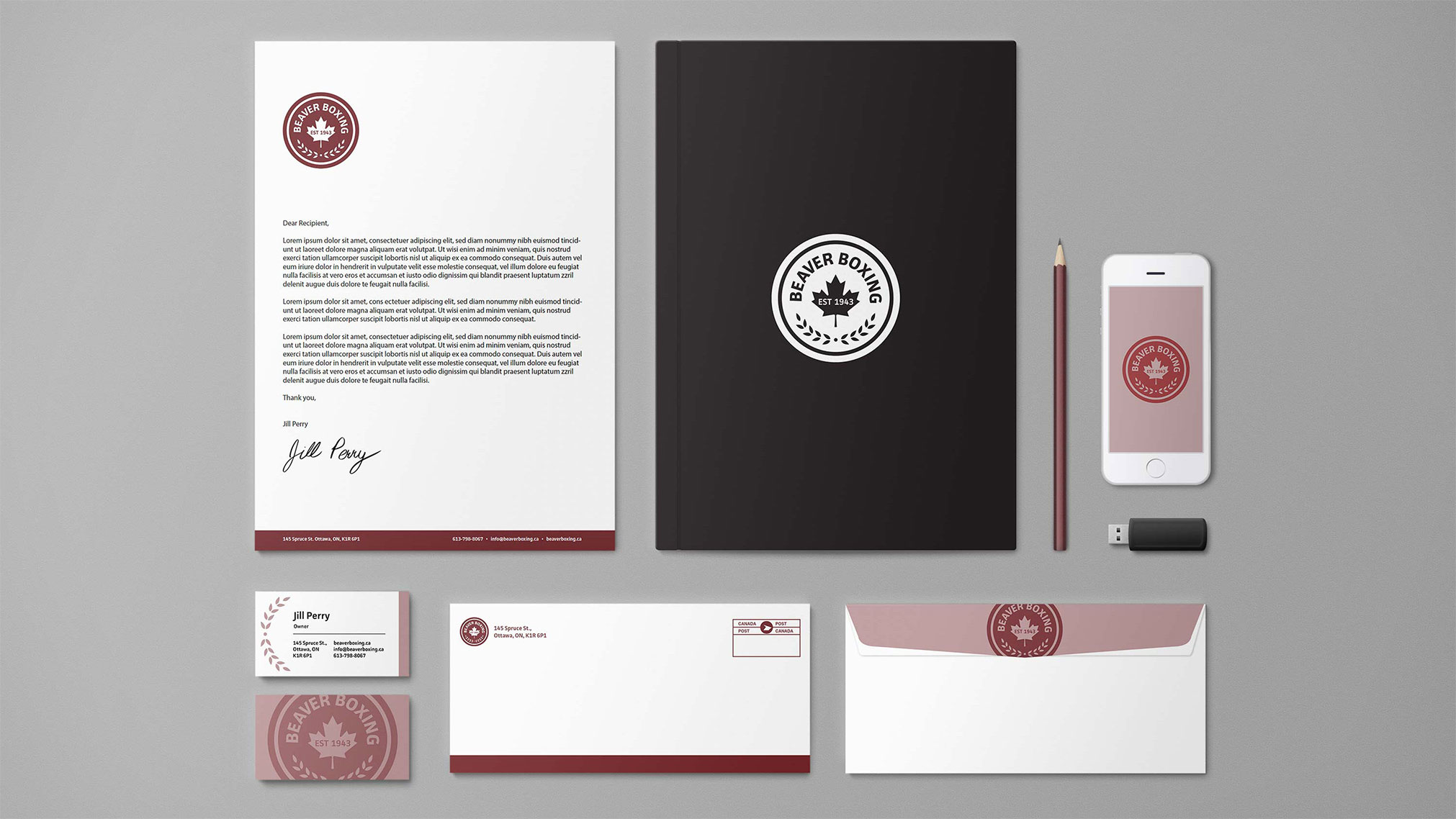 This was a logo redesign for a small business in Ottawa. It is a boxing club that features olympic-level coaching for boxing. This case study includes a new logo and stationary branding for the club.