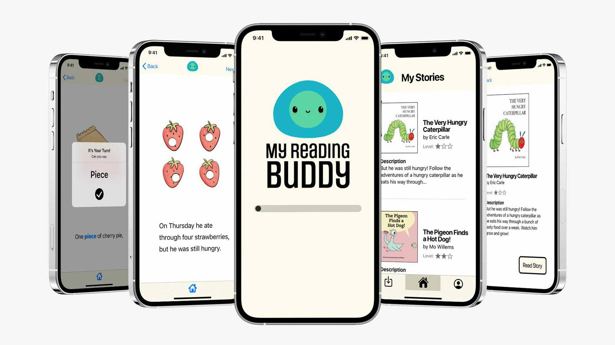 My Ready Buddy is an app to help teach literacy and numeracy through reading stories. The app includes interactive elements like repeating words to practice reading and saying words/numbers.