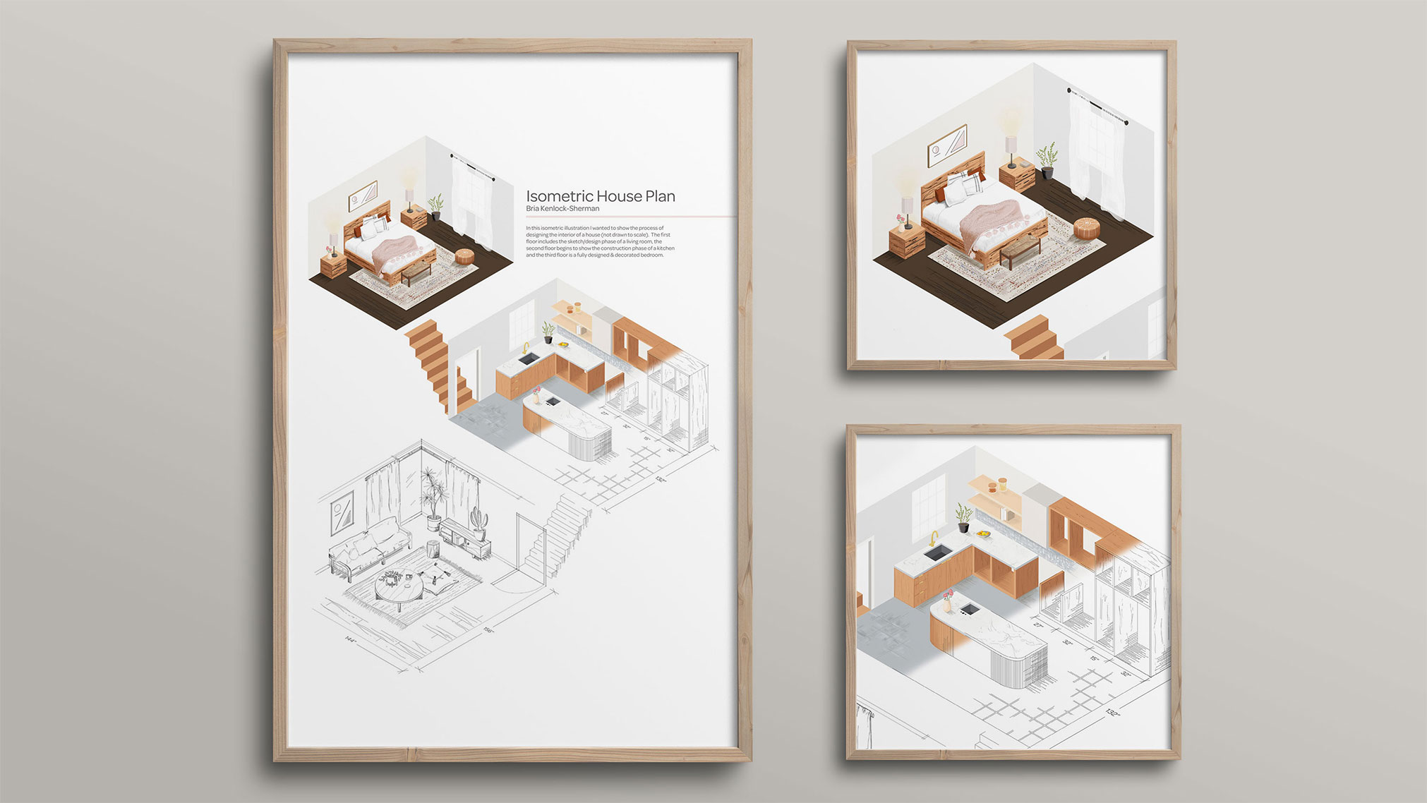 In this illustration, I was able to apply my interior decorating background to illustrate the process of a house being designed in isometric perspective. Drawn in Illustrator & Procreate.
