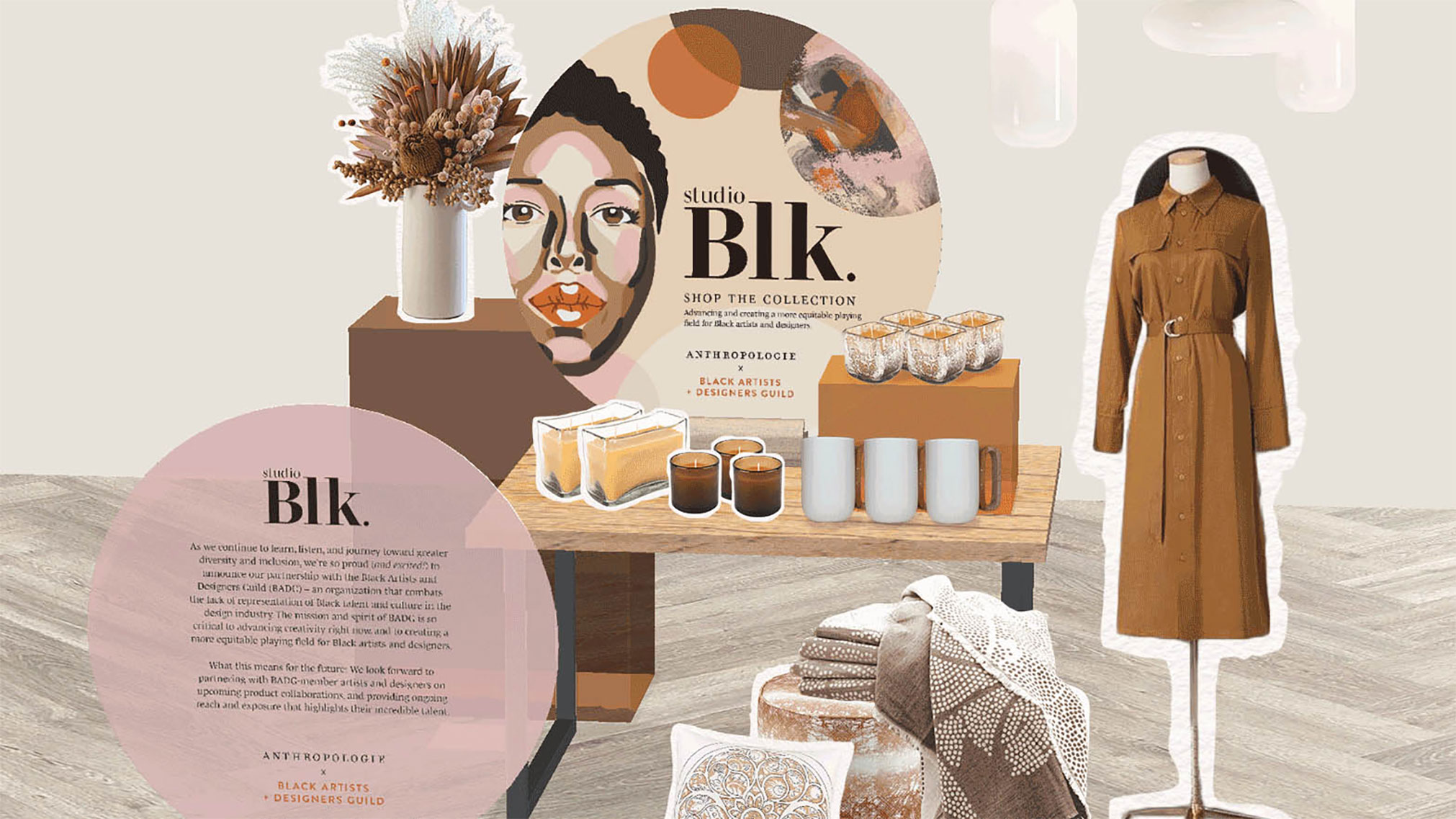 A visual display design system including logo design, illustrations, display signage, and store mockups for a retail collaboration to bring awareness to the Black Artists and Designers Guild.