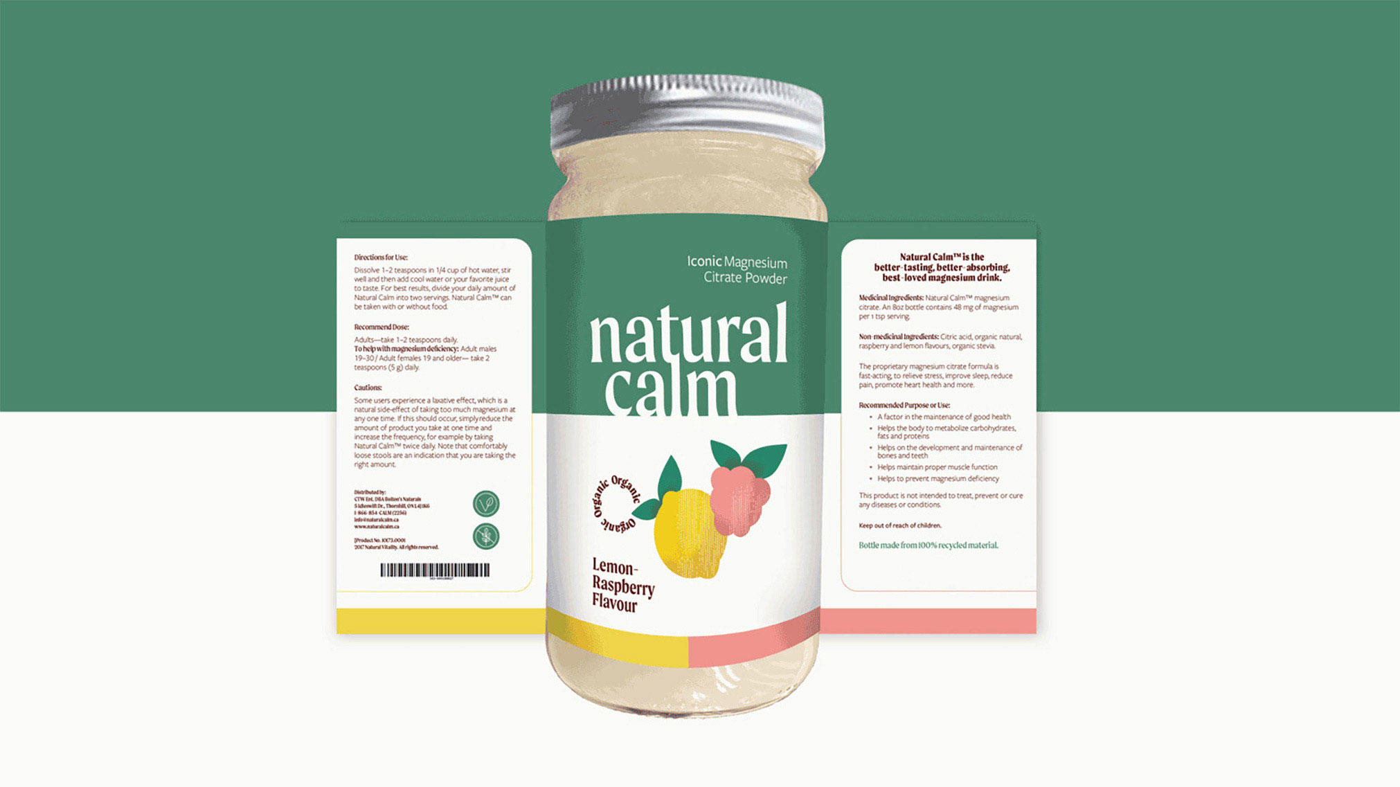 Rebranding of the Natural Calm brand with a more sustainable glass packaging solution and new package design.