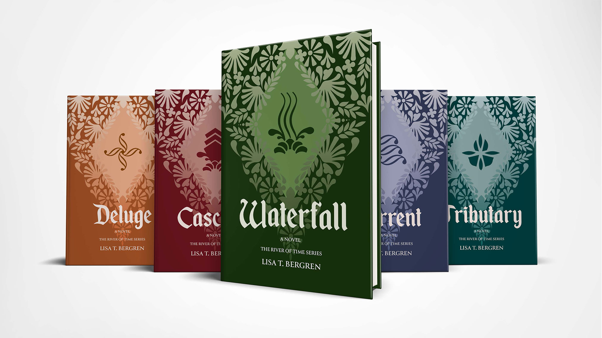 I redesigned the book covers to The River of Time Series, taking a different design path then the original cover by using Illustration.