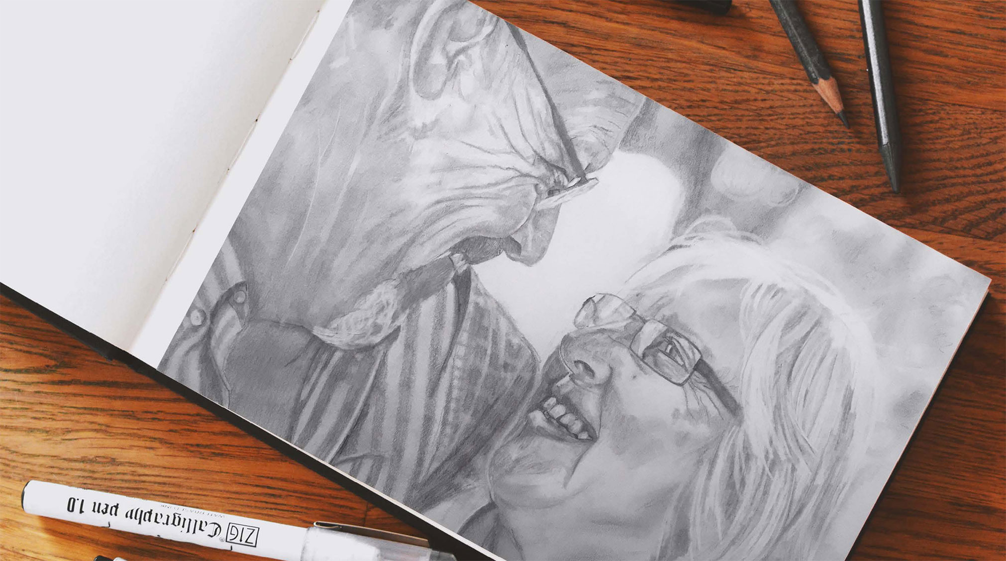 This is a sketch of my grandparents that I created; it shows my creativeness, my passions, and my ability to sketch out project ideas and beginning sketches.
