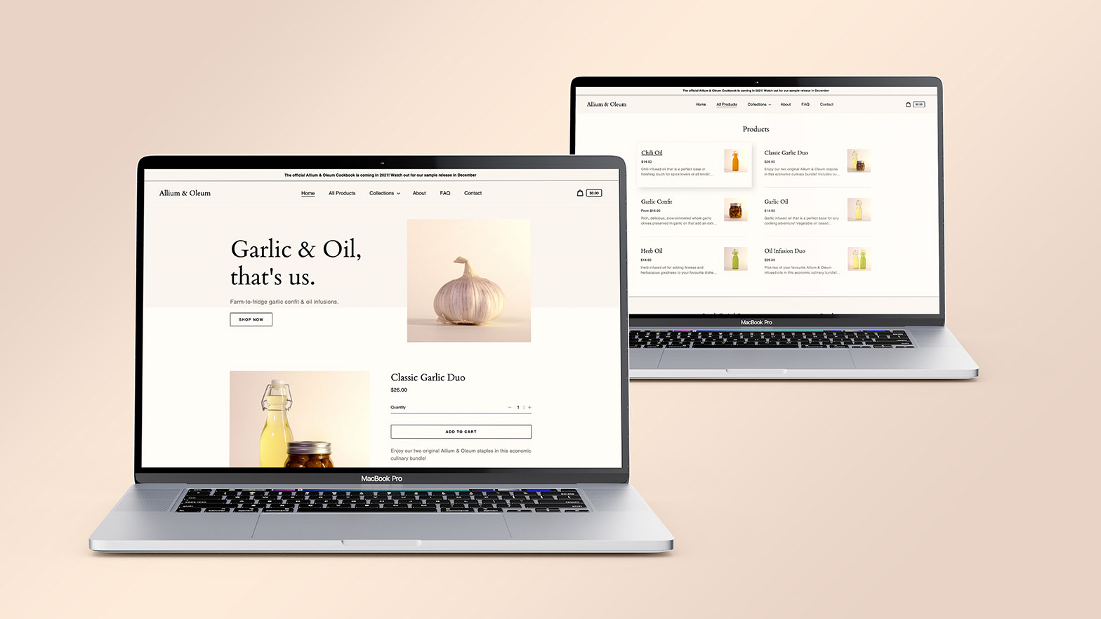 A shopify site designed and built for the sale of chef-quality garlic confit and oil infusions.