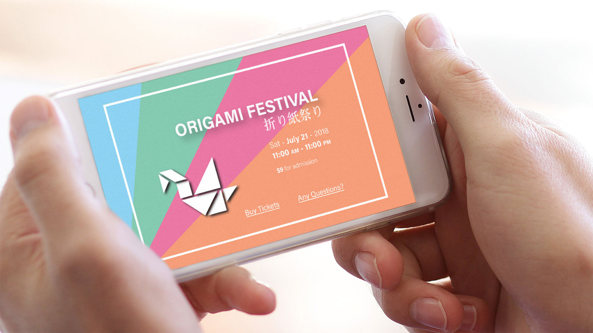 To bring this event brand to life, I created a visual identity that promotes Origami's ancient art. My goal was to depict Japanese culture's simplicity and modern Western visual communication.