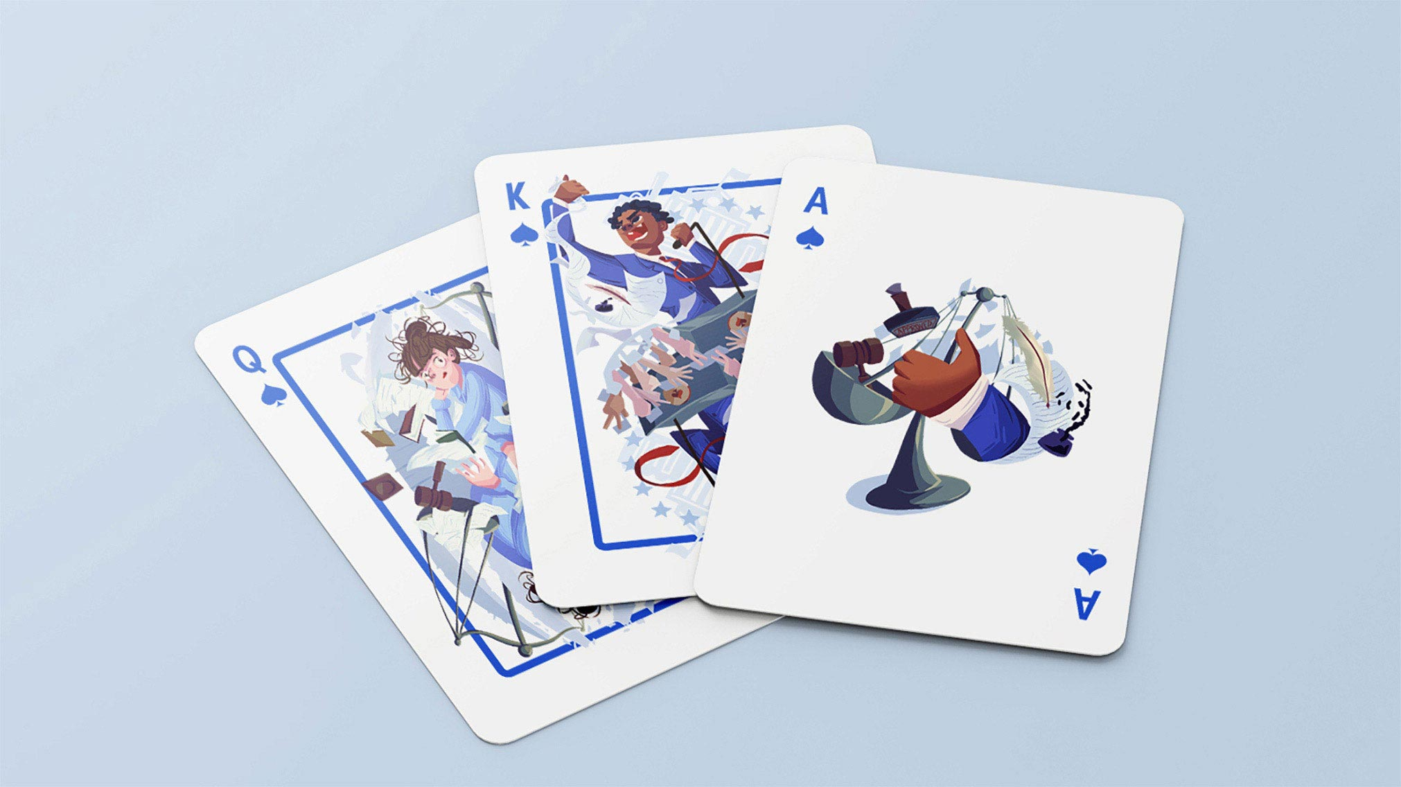 Illustrative playing cards design based on the four main study disciplines: Humanities, Science, Law, Politics.