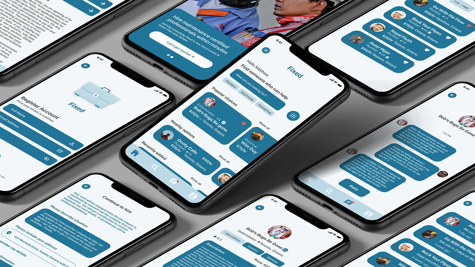 Fixed is an application where homeowners can purchase, read reviews, create a review & contact a maintenance professional within minutes. This application produces a modern contender to this current click to order service generation.