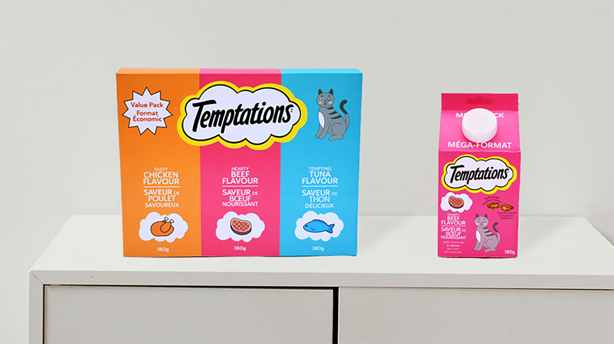 Recently I have been interested in sustainability and I felt bothered by the use of plastic in pet food packaging. That inspired me to re-designed Temptations packaging to use paperboard instead.