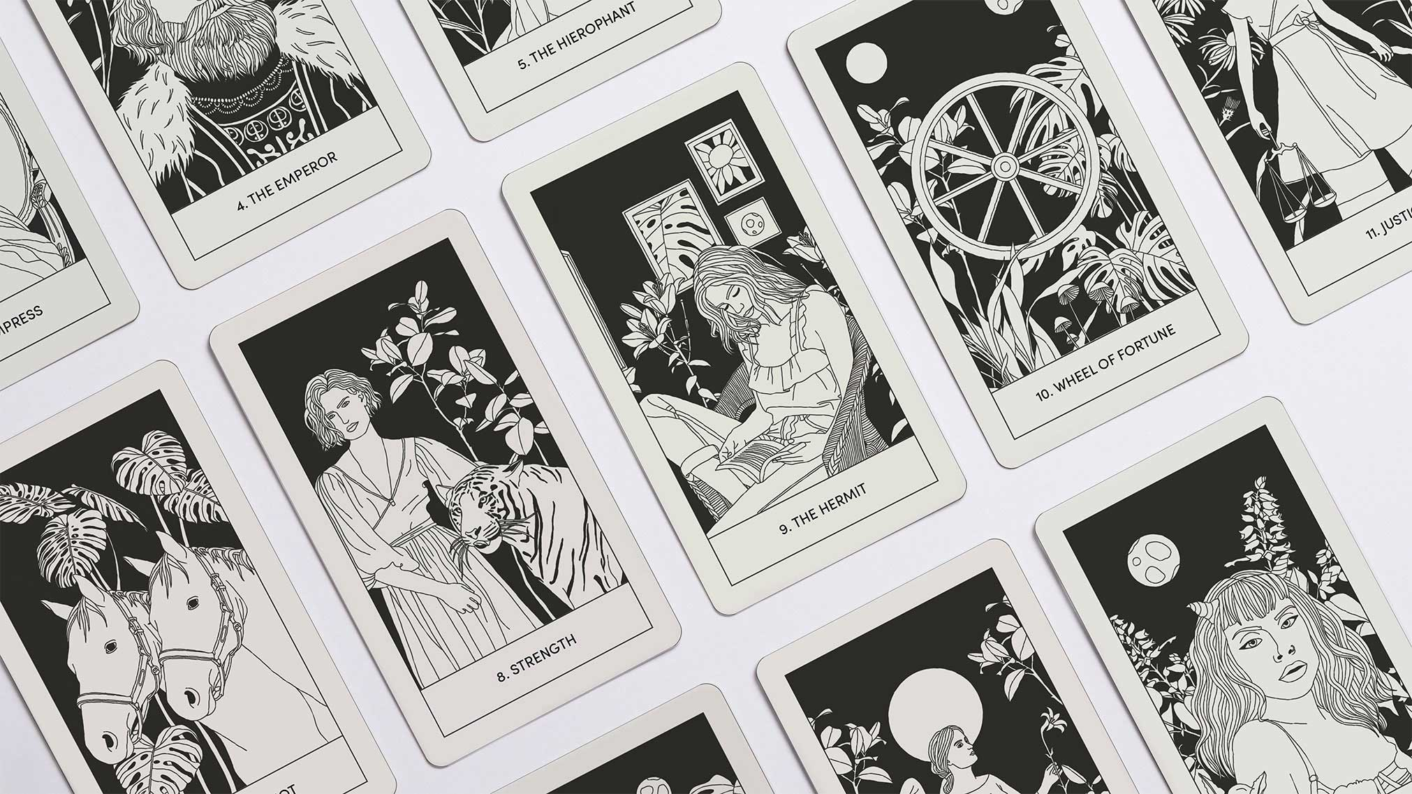 In November 2020, I decided to design a tarot card deck and guidebook in order to showcase my illustrations and designs together. This project involved illustration, print layout, and brand identity design.