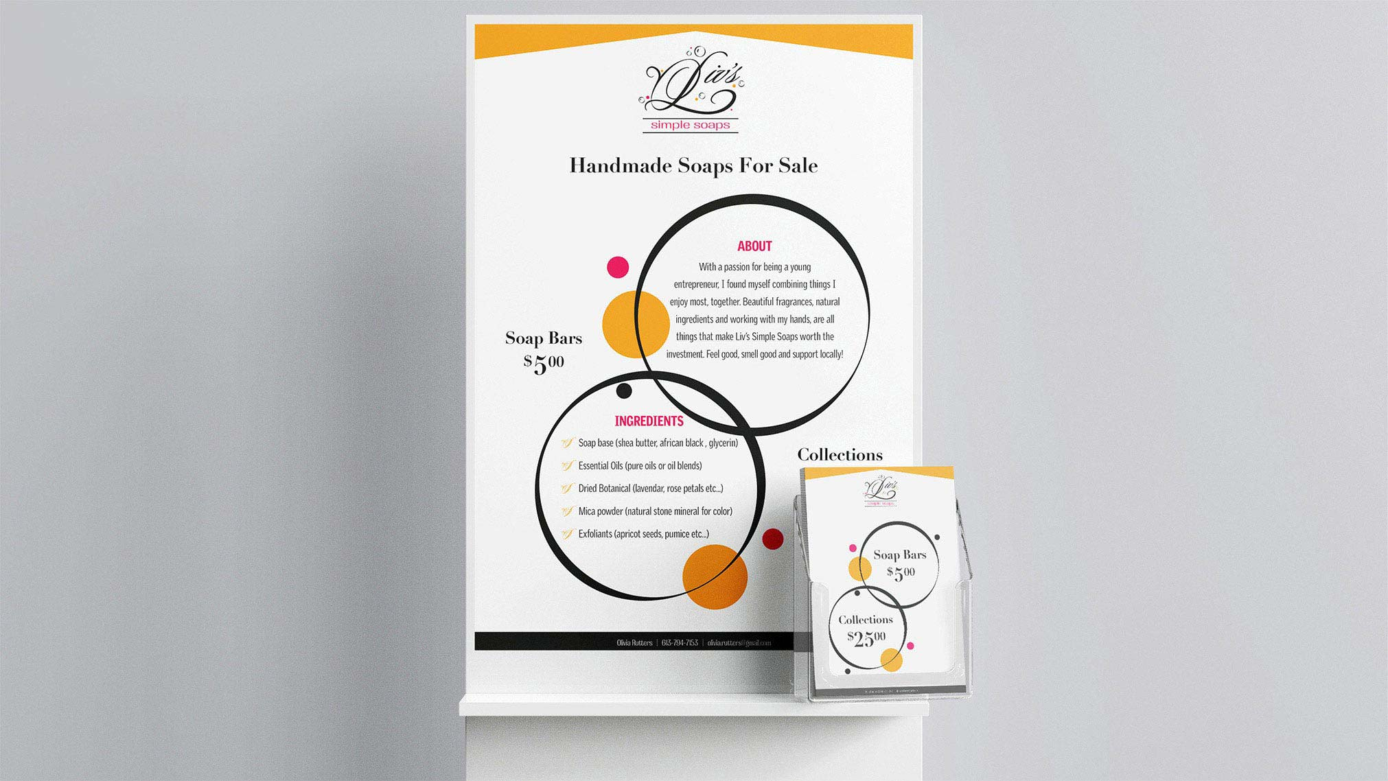 The client needed a logo design for their new small soap-making business. The young entrepreneur wanted something that was playful and elegant to share her personality through the design. A poster and business card was designed for distribution purposes.