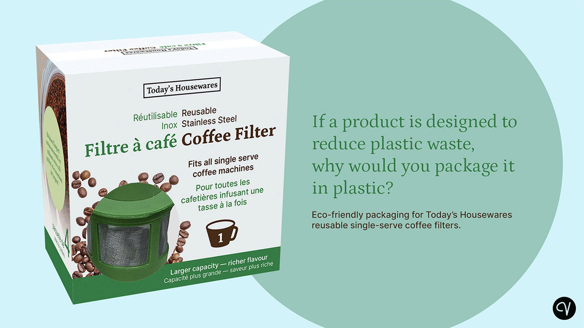 """A plastic-free re-packaging concept for Today's Houseware's coffee capsules (""""K""""apsules). The product is better marketed to an eco-conscious consumer."""